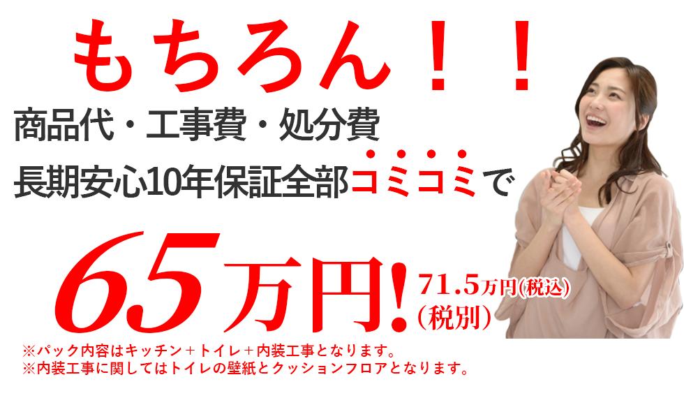 商品代・工事費・処分費・長期安心10年保証コミコミで65万円!(税込71.5万円)