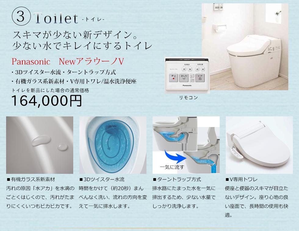 トイレは人気のPanasonicのアラウーノV パナソニック独自の有機系ガラス新素材は汚れの原因となる水あかを寄せ付けません